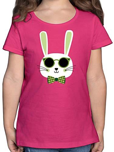 Ostern Kinder - Osterhase Sonnenbrille Grün - 128 (7/8 Jahre) - Fuchsia - t Shirt Osterhase Kinder 140 - F131K - Mädchen Kinder T-Shirt