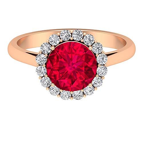 Rosec Jewels 18 quilates oro rosa redonda Round Brilliant Red Moissanite Ruby Lab creado