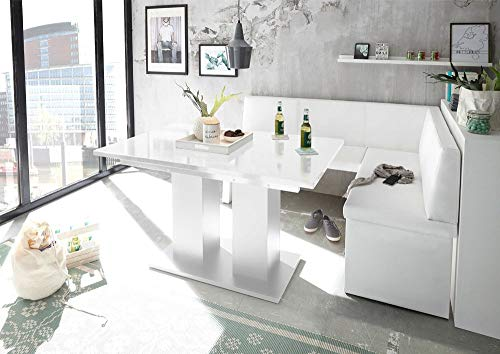 MyStyleWood Eckbank Olga Weiß mit Säulentisch Weiß Küchenbank Sitzecke dick gepolstert Kunstleder pflegeleicht stabiles Holzgestell 168x128R