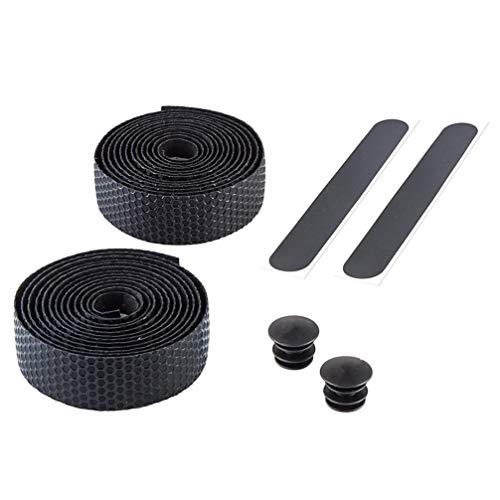 Wakauto Bicycle Handlebar Tape, Bicycle Handlebar Anti-Skid Strap MTB Road Honeycomb Bike Handlebar Tape Belt Strap Bar Plug (Black)
