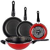 Magefesa Praga Set 3 sartenes 18/20/24 y sartén wok, acero esmaltado vitrificado en granate, inducción y lavavajillas