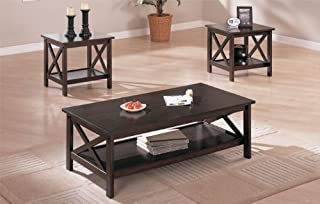 Poundex PDEX-F3069 3 Piece Coffee Table Set, Cappuccino