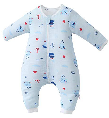 Chilsuessy Baby Sommer Schlafsack mit Füßen Kinder Schlafsack Langarm Mädchen Junge Schlafstrampler Overall Pyjamas, Blau Wal, 100/Baby Hoehe 105-115cm
