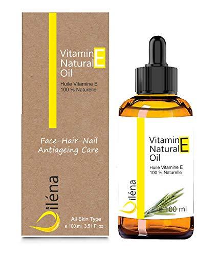 Aceite de vitamina E (tocoferol) 100% natural Vegano, Cuidado facial antienvejecimiento, Desmaquillador waterproof, Cuerpo y cabello, Uñas y cutículas, Hidratante reparador para manos (100 ml)