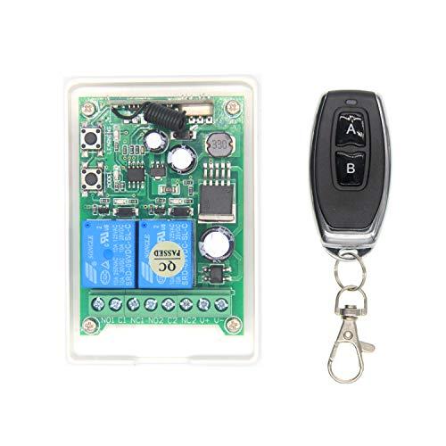 Mando a distancia inalámbrico DC12V-24V-48V 2 canales salida relé inalámbrico mando a distancia interruptor luz motor cabrestante ventana 4 modos ajuste radio interruptor con emisor manual