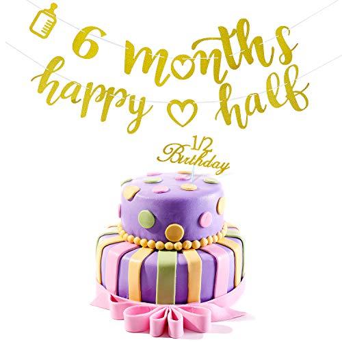 2 Stück 6 Months Banner Dekoration Happy Half Garland und Glitter Cupcake Topper mit 1/2 Geburtstag Design für Baby Dusche Geburtstagsfeier Dekorationen (Nicht Aufgereiht)