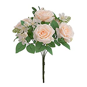Artificial Rose Simulation Home Decor Fake Flower Faux Plants for Wedding Office Photo Props Decoration 7 Head Flowers Champagne