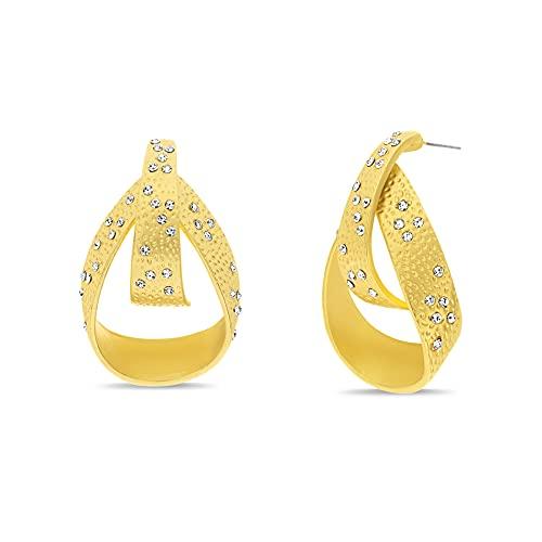 Badgley Mischka Pendientes de gota con textura de lgrima de diamantes de imitacin para mujeres amarillo