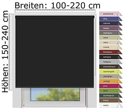 EFIXS Verdunklungsrollo Medium - 25 mm Welle - Farbe: schwarz (7917) - Größe: 160 x 190cm (Stoffbreite x Höhe) lichtundurchlässig