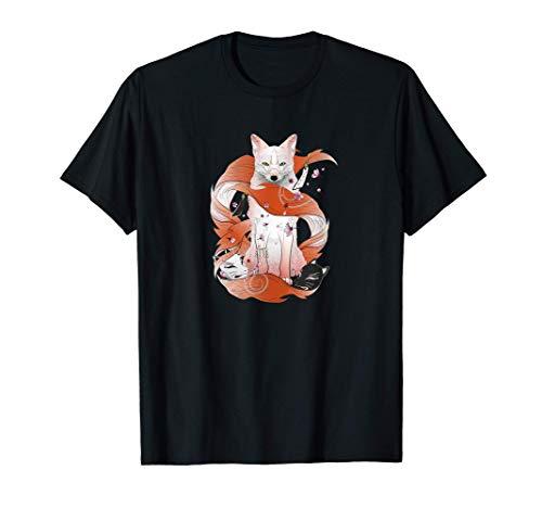 Kitsune Japanese Kami Inari Nine-Tailed Fox Fox Spirit Yokai T-Shirt