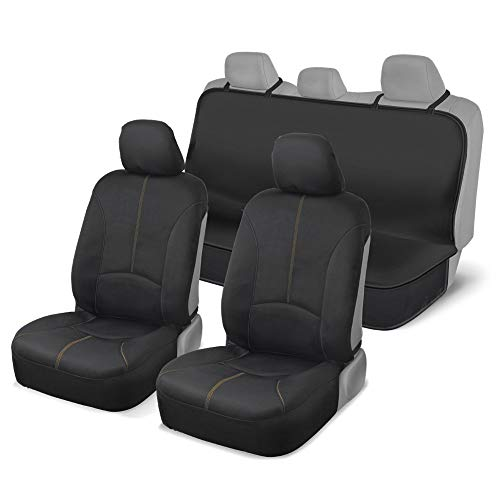 Motor Trend 100% Waterproof Front and Rear Seat Covers for Car Senda SUV Van Truck - Poly Neoprene Material Easy to Install