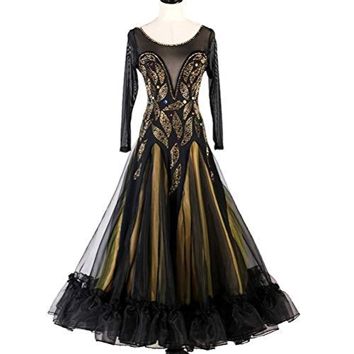 Lange Ärmel Frauen Standardtanz-Kleider Moderne Walzer Tango Glatte Kostüme Ballsaal Expansion Rock Social-Tanz-Kleid (Color : Schwarz, Size : L)