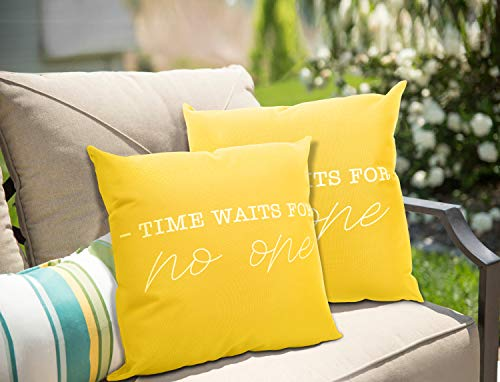 MoKo 2-Pack Waterproof Throw Pillow Cover, PU Coating Outdoor Pillow Cases Letter Prints Decorative Square Cushion Covers for Patio Couch Home Garden Decoration, 18' x 18', 45 x 45 cm, Yellow