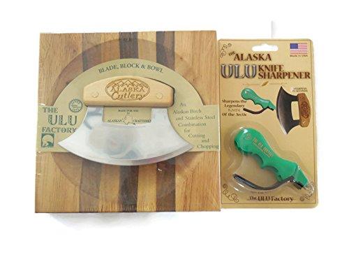 Ulu Knife Alaska Cutlery And Chopping Bowl Set Bundle With Ulu Knife Sharpener, This Ulu Knife Can Be Used As Mezzaluna Chopper, Bolo Rolling Knife And Chopped Salad Tool.