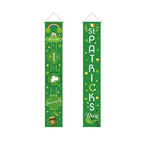 Moent Bandera colgante del día de San Patricio 2021, diseño irlandés de trébol festivo, guirnalda de hojas de la suerte, decoración de fiestas de festivales