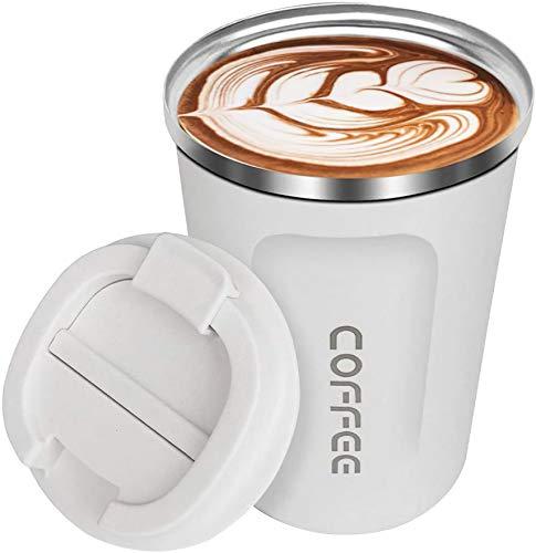 Senelux Isolierter Kaffeebecher, doppelwandig, isoliert, Edelstahl, Vakuum-Kaffeetasse mit auslaufsicherem Klappdeckel für Heiß/Eiskaffee, Tee und Bier, 368 ml, Creme