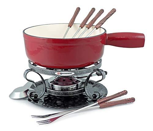 Swissmar Lugano 2-Quart Cast Iron Cheese Fondue Set, 9-Piece, Cherry Red
