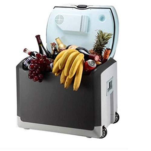 40 Liter Autokühlschrank für 24 Flaschen mit 550 ml Mineralwasser Tragbarer Mini-Autohaus-Kühlschrank mit doppeltem Verwendungszweck und Zugstange und Gefrierfach - Blau / Schwarz8fd9cdd8f4db2bd633