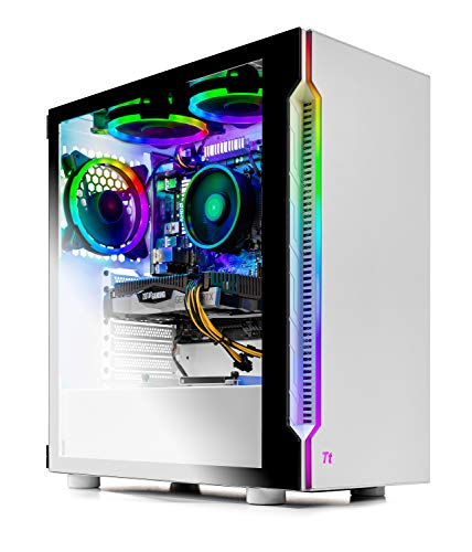 SkyTech Archangel 3.0 Gaming Computer PC Desktop - Ryzen 5 3600 6-Core 3.6GHz, RTX 2060 6G, 500GB SSD, 16GB DDR4 3000, RGB Fans, AC WiFi, Windows 10 Home 64-bit, White