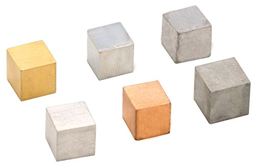 Density Cubes Set - Includes 6 Metals - Brass, Lead, Iron, Copper, Aluminum, Zinc - 0.4' (10mm) Sides - for use with Density, Specific Gravity Activities - Eisco Labs