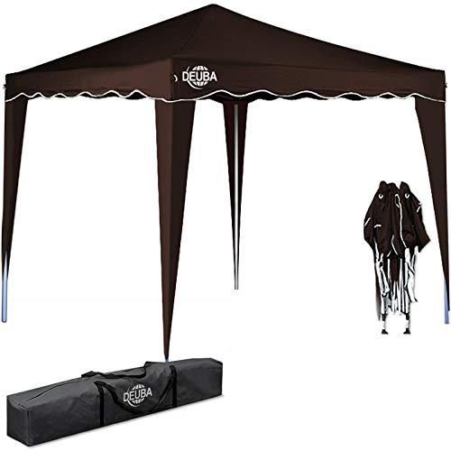 Deuba® Pavillon Capri 3x3m wasserdicht Pop-Up inkl. Tasche UV-Schutz 50+ Faltpavillon Gartenzelt Partyzelt Dunkelbraun