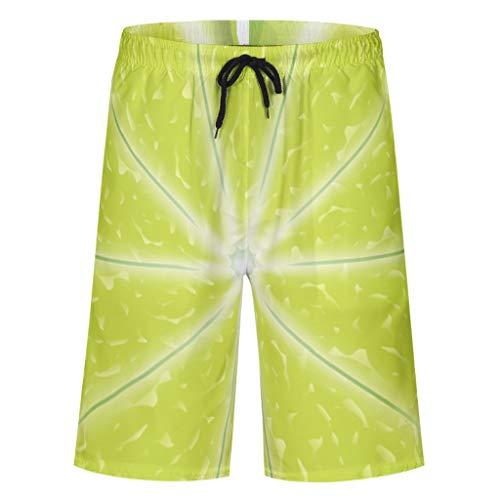 Firedancekid zwembroek voor heren, vrijetijdsbroek, zomer, strandmode, sneldrogend, zwembroek, zwempak, shorts met elastisch trekkoord, zakken, zonder mesh-voering, citroen