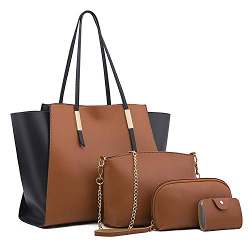 Branded Handbags For Women Large Structured Tote Bag Travel Shoulder Bags 4pcs Satchel Clutch Purses And Handbags