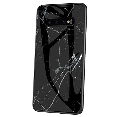 Felfy Vidrio Templado Hard Back Cover Compatible con Galaxy S10 Rígida Silicona Case,Compatible con Galaxy S10 Funda Mármol Creativa Diseño Brillante Cover de TPU Hard Slim Case.Negro