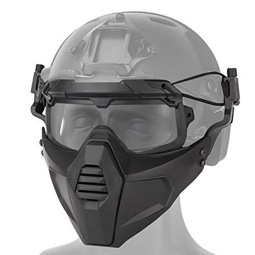 DETECH Fast Helmreitbrille Brille mit Abnehmbarer Gesichtsmaske Passend für Airsoft Paintball Halloween Party