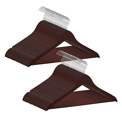 COM-FORT HOUSE | Perchas de Madera | Color Nogal | Diseño Elegante | Madera Maciza | Perchas con Garra | para Trajes | Pack de 40 Unidades | Gancho de Acero Inoxidable Giratorio |