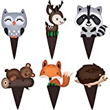 Woodland Cupcake Topper Decorations 48 Pcs - Great for Cake - Forest Animals Creatures Themes Birthday Party and Baby Shower, Boy and Girl Party Supplies by Pretty Cute Studios