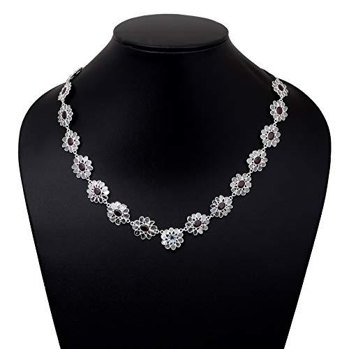 Collar de diamantes Polki, rubí indio de forma ovalada y piedra preciosa de topacio azul, collar de plata de ley 925 de 18 pulgadas de largo, regalo para ella en oferta