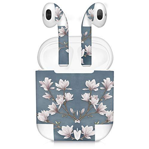 kwmobile Set Adesivi 7 in 1 Compatibile con Apple AirPods (1. Generation) - 7X Decorazioni per Personalizzare Auricolari - Sticker Pellicola autoadesiva - Magnolie Marrone Grigio/Bianco/Grigio Blu