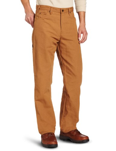 Dickies Men's Relaxed Fit Straight-Leg Duck Carpenter Jean, Brown Duck, 34W x 30L