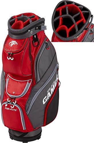 2019 Top-Flite Gamer Golf Cart Bag 14-Way Top 9 Pockets Mesh Carry Strap Beverage Cooling (Gray/Red)