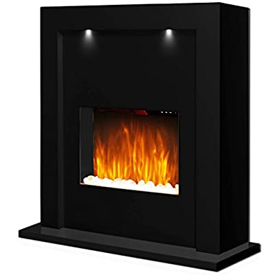 Guaranteed4Less Black Electric Fire Surround Fireplace Mantelpiece Free Standing Led Downlights