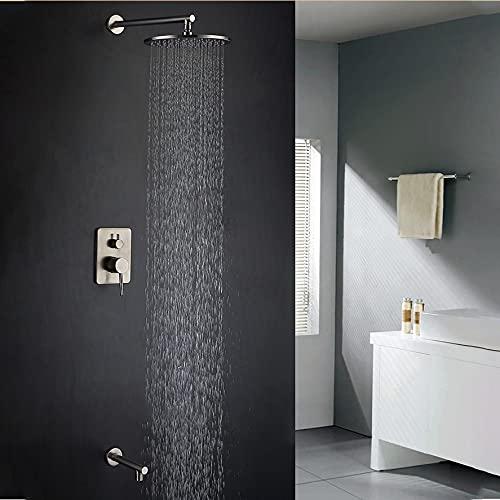 Sistema de grifo de ducha - Potente cabezal de ducha de lluvia de 8 pulgadas para duchas de bajo flujo - Grifo de ducha oculto de latón (contiene válvula empotrada y kit de molduras), acabado cromado