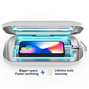 PhoneSoap 3 UV Smartphone Sanitizer & Universal Charger | Patented & Clinically Proven UV Light Disinfector | (Pro White)
