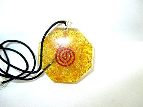 Colgante Orgone HiJet de Ónix amarillo Órgone colgante hexagonal de 1.5 pulgadas piezo eléctrico protección electromagnética...