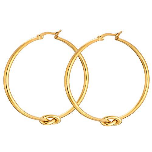 YL Pendientes de aro de oro de 18 quilates de oro Pendientes de aro redondo de acero inoxidable cuelgan pendientes de nudo redondo para mujeres, 50 mm