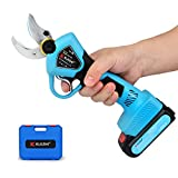KLEZHI Professional Cordless Electric Pruning Shears with 2 PCS Backup Rechargeable 2Ah Lithium Battery Powered Tree Branch Pruner, 30mm (1.2 Inch) Cutting Diameter, 6-8 Working Hours