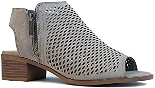 Comfortable Perforated Flat Bootie – Casual Open Toe Low Stacked Heel - Cut Out Side Zipper Shoe - Tracy