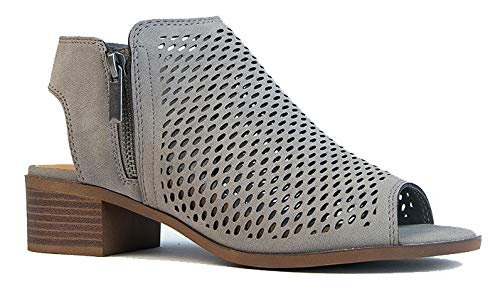 J. Adams Tracy Perforated Flat Bootie - Casual Open Toe Low Heel - Cut Out Shoe, Light Grey, 7.5