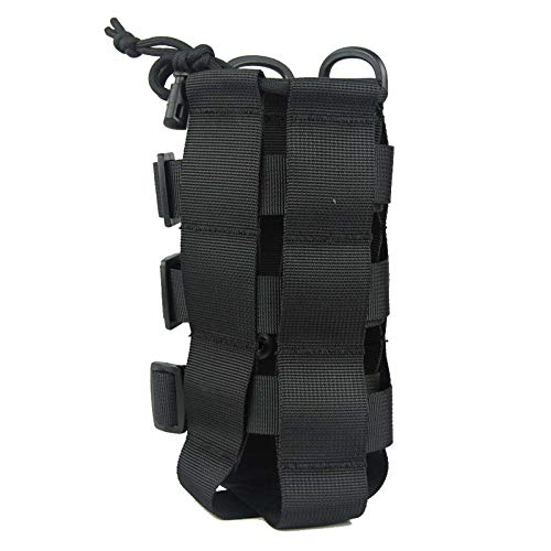 PatiosGuard Tactical Water Bottle Pouch for Molle Systems, Adjustable Outdoor Sports Kettle Carrier Holder (Black)
