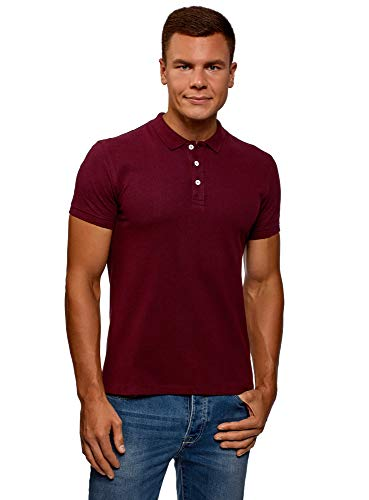 oodji Ultra Herren Pique-Poloshirt, Rot, DE 52-54 / L