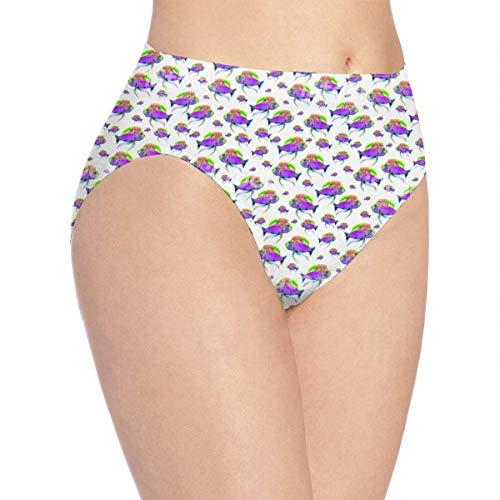 XCNGG Höschen Damenunterwäsche 3D Print Soft Women's Underwear, Purple Fishes Fashion Flirty Lady's Panties Briefs XL