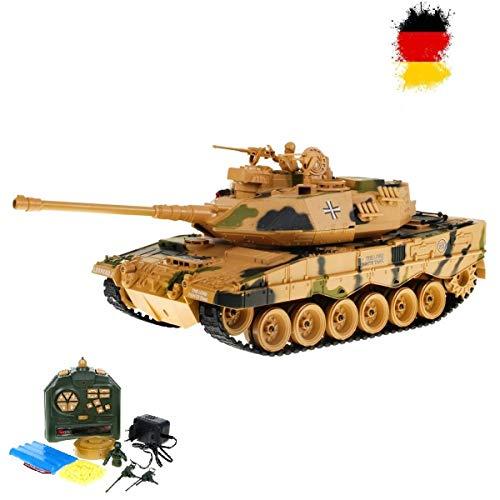 German Leopard 2 A6 - RC ferngesteuerter 1/18 Panzer mit BB-Airsoft Schussfunktion,Komplett-Set,Munition