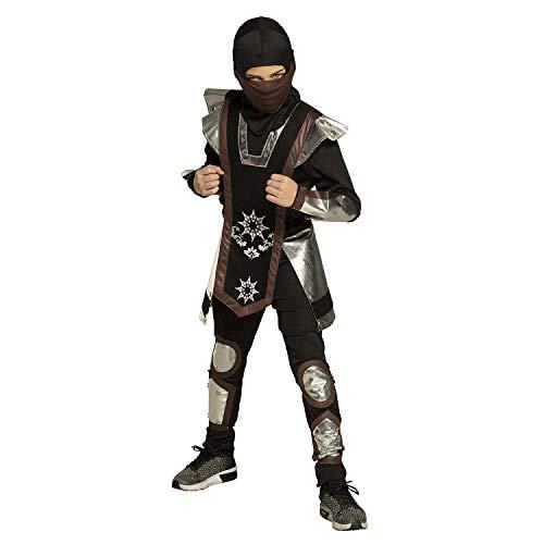 Boland - Kinderkostüm Ninja Fighter, Hemd mit Kapuze, Maske, Körper-, Arm- und Beinschutz und Hose, verschiedene Größen, Kostüm, Karneval, Mottoparty