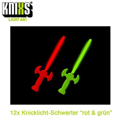 KNIXS 24-teiliges Set 12x Leuchtschwerter/Knicklicht-Schwerter in rot und grün leuchtend - ca 30 cm lang - wiedernachfüll- und wiederverwendbar - ideal für Party oder Geburtstag