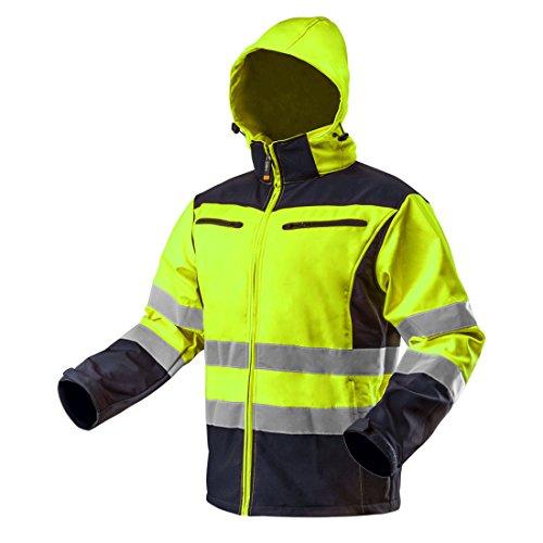 Neo Tools Softshell Warnjacke mit Reflektionsstreifen orange Neon gelb Arbeitsjacke Warnschutz Sicherheitshose XL Neongelb
